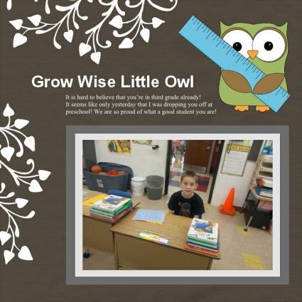 owl school scapbook layout