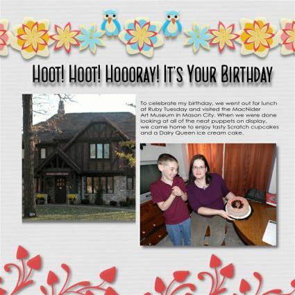 owl birthday scrapbook layout