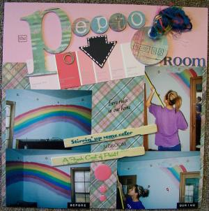 Scrapbook page incorporating a paint chip