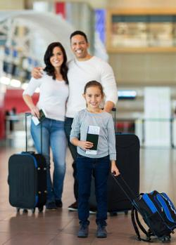 Family preparing to go on airplane trip
