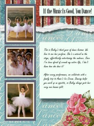dance scrapbook layout