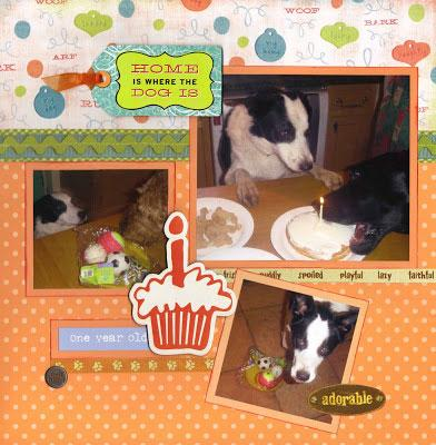 Scrapbook page layout of Higgens 1st birthday © Shirley Mitchell