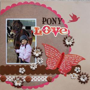 Daughter with pony scrapbook page