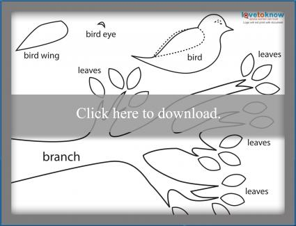 Paper piecing bird printable pattern