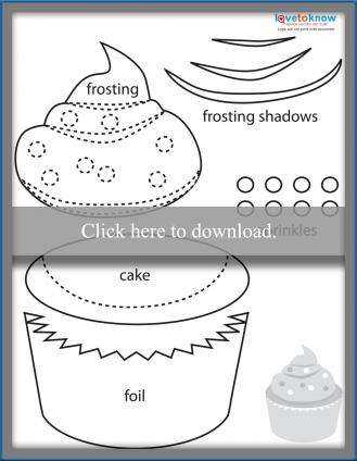 Paper piecing cupcake printable pattern