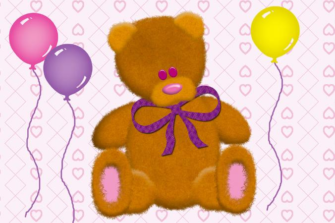 Teddy bear and balloons scrapbook art
