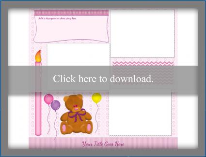 pink birthday teddy bear scrapbook template