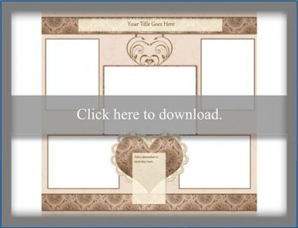 hearts and lace scrapbook template