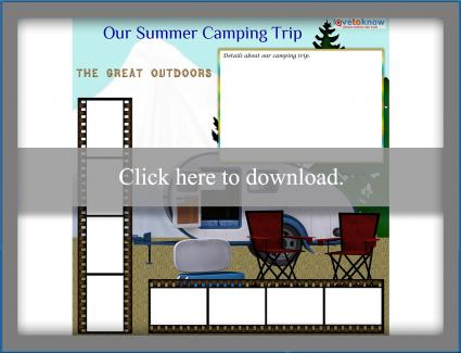 Camping trip scrapbook template printable pdf