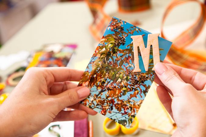 card and cut out letter M