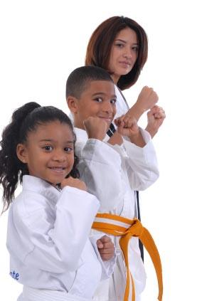A family ready for karate class