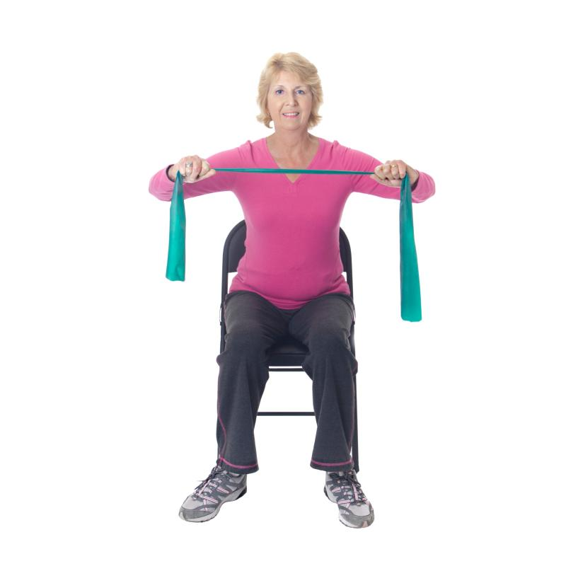 Woman Using A Resistance Band Seated