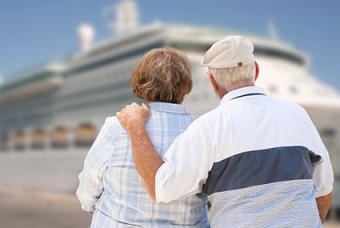 Seniors looking at cruise ship