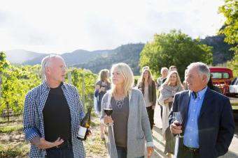 Vintner discussing wine