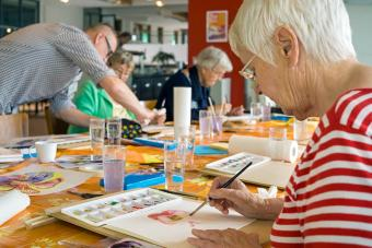 Watercolor painting with seniors