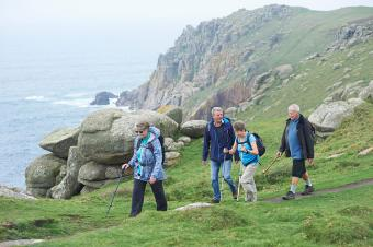 Older adults hiking in nature