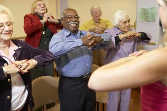 Elderly adults in a stretching class