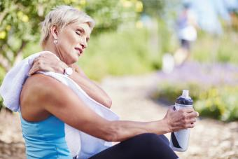 mature woman after exercising