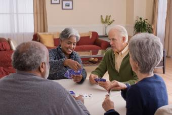 People at senior center playing cards