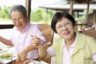 Japanese couple eating
