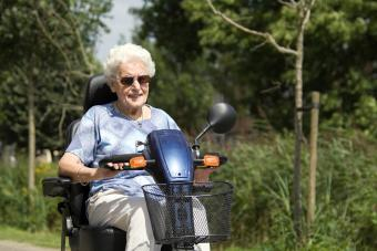 senior woman with a scooter