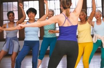 dance fitness instructor with seniors