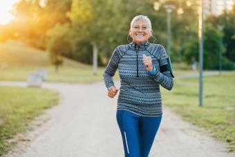 Senior woman running for exercise