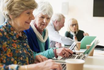 Senior women using laptops