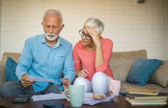 Senior couple brainstorming