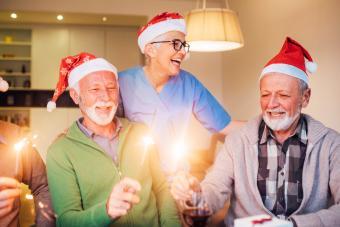 Old people celebrating Christmas