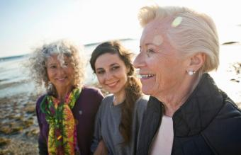 Women members chatting on beach