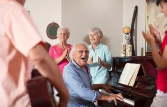 Elderly people making music