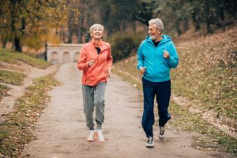 Senior couple in workout attire