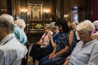 Seniors attending Easter church service