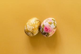 Paper mache decorative Easter eggs