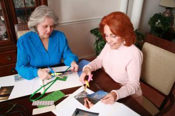 Senior women scrapbooking for Easter
