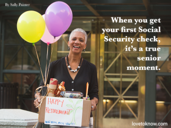 Senior Citizen Quote about Retirement and Image of a Woman Leaving Her Workplace