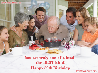 Family celebrating grandfather's birthday and quote about turning 80