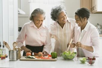Women preparing food in kitchen