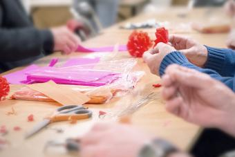 Seniors manufacture crepe paper decorations