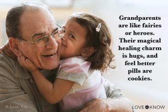 girl kissing grandfather