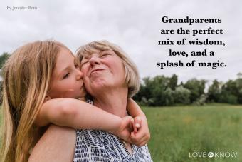Granddaughter kissing her grandmother