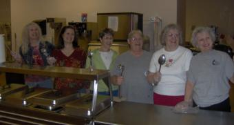 Volunteers at Camp St. Paul's kitchen