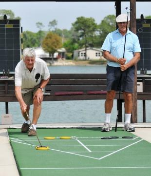 Seniors playing shuffleboard