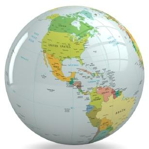 North and South America on a globe