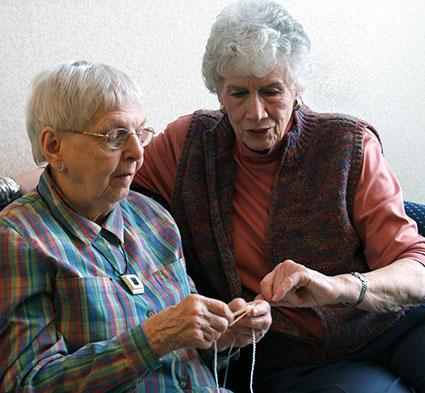 Senior learning to knit