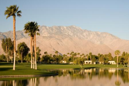 Houses on a golf course in Palm Springs, California