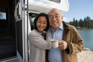 Senior couple on RV road trip