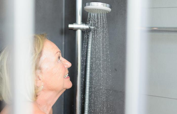 Senior Woman Taking Shower