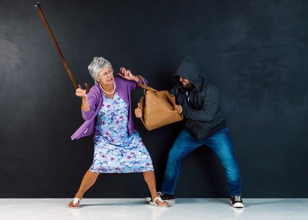 Senior defending herself against attacker